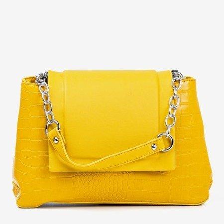 Yellow women's handbag with animal embossing - Handbags 1