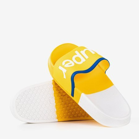 Yellow women's slippers with the word Supera - Footwear 1