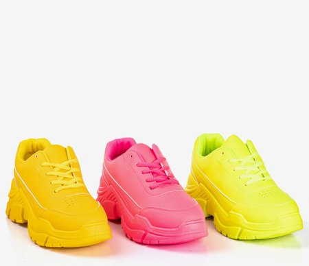 Yellow women's sneakers on a massive Lera sole - Footwear 1
