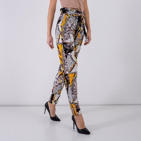 Yellow women's trousers with print - Clothing
