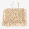 Beige square straw women's shoulder bag - Handbags 1