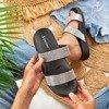 Black flip flops with zircons Bhista - Footwear 1