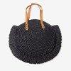 Black round straw women's shoulder bag - Handbags 1