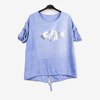 Blue women's tunic with print - Blouses 1