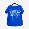 Cobalt women's tunic with flowers - Blouses 1