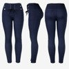 Dark blue women's tied trousers with ties - Trousers 1
