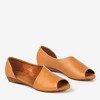 Light brown women's sandals on a low wedge Irynisa - Footwear