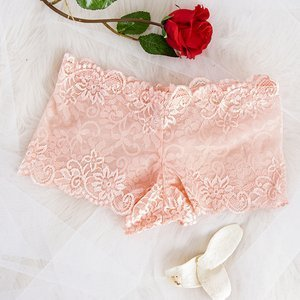 Light pink women's lace boxer shorts - Underwear