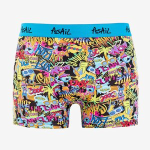 Men's blue boxer shorts with colorful print - Underwear