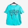 Turquoise women's tunic with flowers - Blouses 1