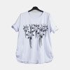 White women's tunic with flowers - Blouses 1