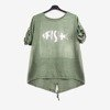 Women's green tunic with print - Blouses 1
