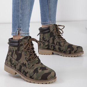 Women's camo pattern lace-up boots Sadako - Footwear
