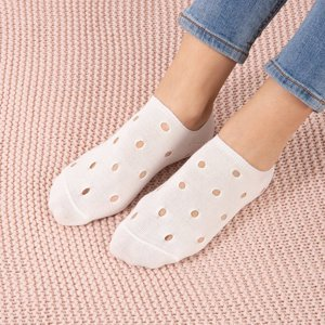 Women's white ankle socks with decorative holes - Socks